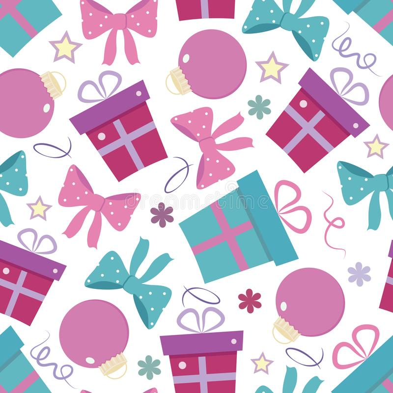 Vector New Year seamless pattern with presents, ribbons, Christmas tree toys royalty free illustration