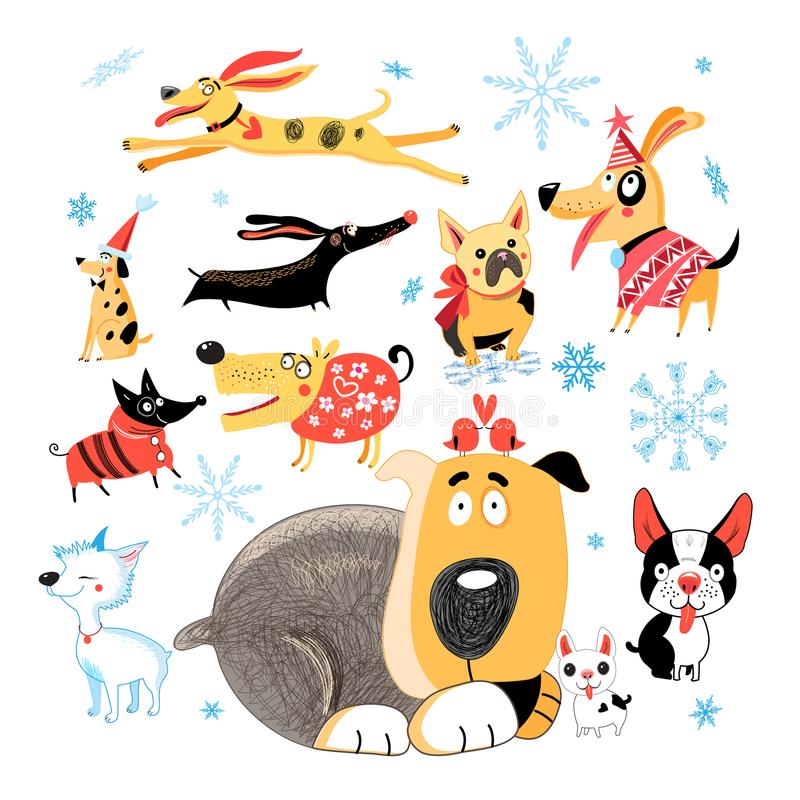 Vector New Year set of different funny dogs royalty free illustration