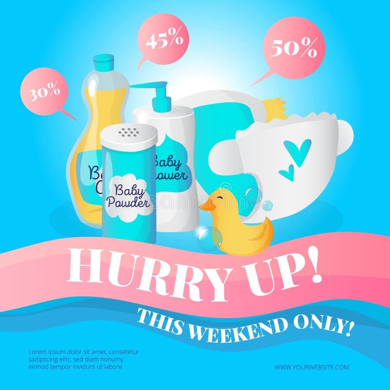 Vector newborn accessories poster design template. Baby goods sale voucher. stock illustration