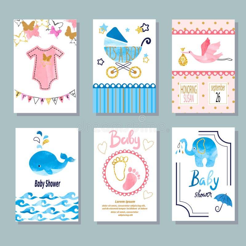 Vector newborn celebration and invitation cards design royalty free illustration