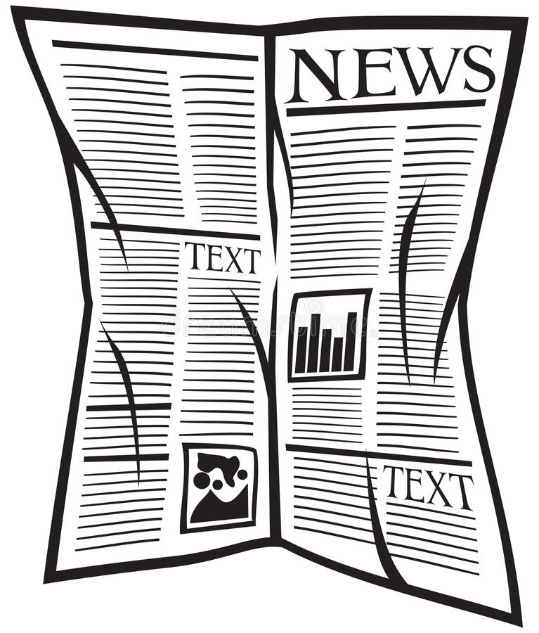 Vector newspaper icon. Black and white newspaper, source of new news royalty free illustration