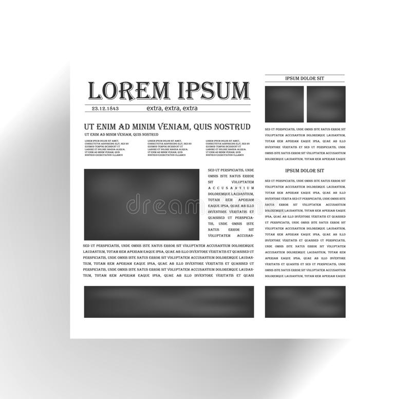Vector newspapers and news icon. Black. And white royalty free illustration