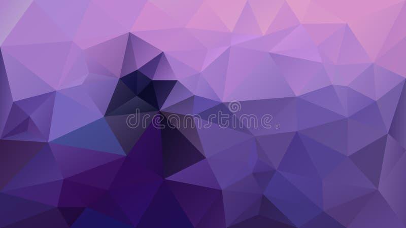 Vector niedriges Polymuster des unregelmäßigen polygonalen Hintergrunddreiecks - ultraviolett- und Lavendelpurpurfarbe vektor abbildung