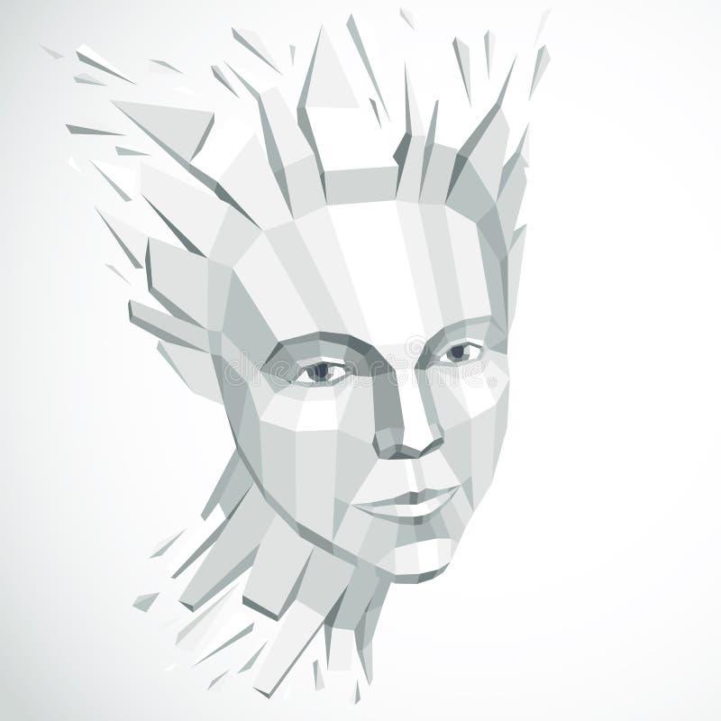 Vector niedriges weibliches dimensionalpolyporträt, grafisches Monochrom lizenzfreie abbildung
