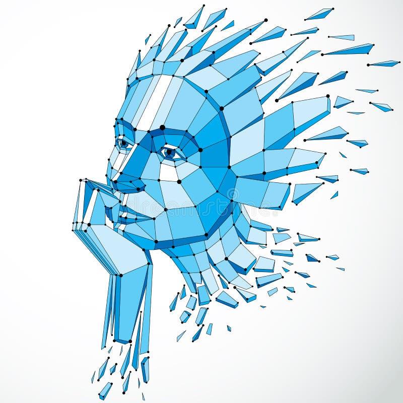Vector niedriges weibliches dimensionalpolyporträt mit Linien ineinander greifen, gra stock abbildung