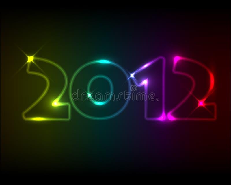 Vector Nieuwjaarskaart 2012 royalty-vrije illustratie