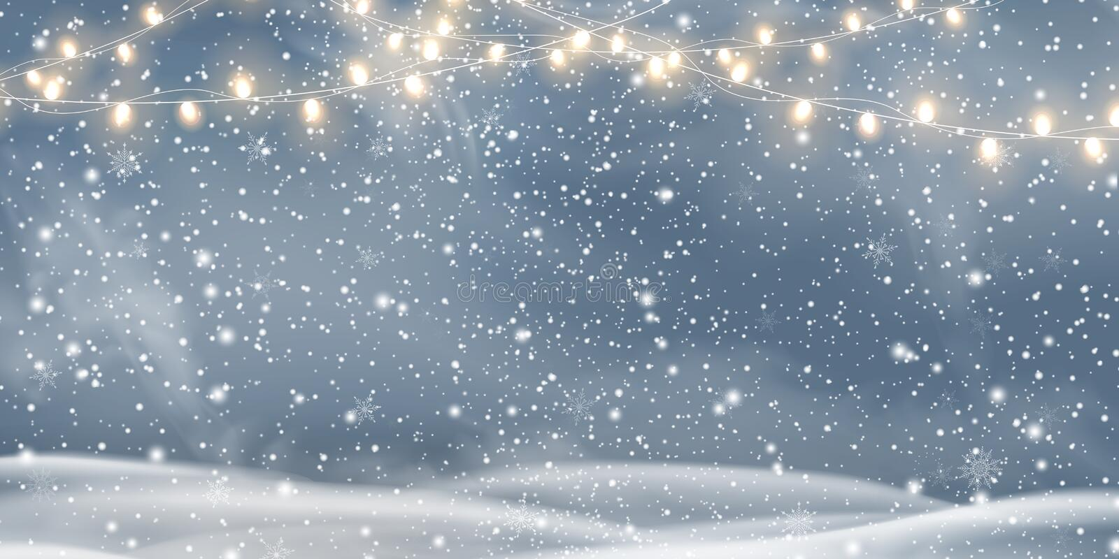 Vector night Christmas, Snowy landscape with light garlands, snow, snowflakes, snowdrift. Happy new year. Holiday winter stock illustration
