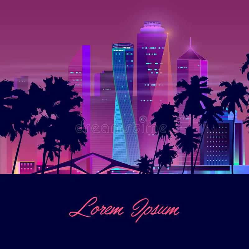 Vector night city with palms, background template. Vector template with dark palms and night city in neon, ultraviolet colors. Bright multistorey buildings, new royalty free illustration