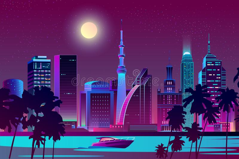 Vector night city on river, tropical megapolis. Vector background with night city in neon, ultraviolet colors. Bright river with boat on full moon background stock illustration