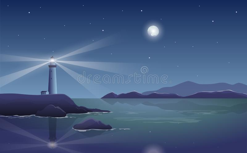 Vector night landscape with lighthouse by the sea and shining mo. On vector illustration