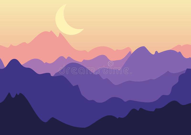 Vector night landscape, purple mountains and moon on sky. Nature. Seamless background vector illustration
