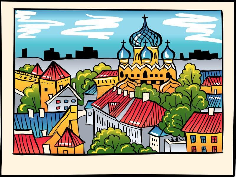 Vector night Medieval Old Town, Tallinn, Estonia stock image