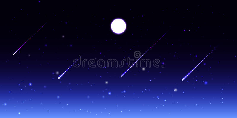 Vector night sky with moon and shooting stars royalty free illustration