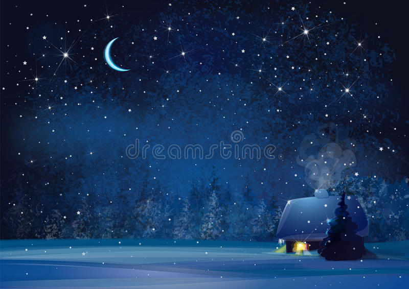 Vector night winter landscape. Vector night winter landscape with house and forest background vector illustration