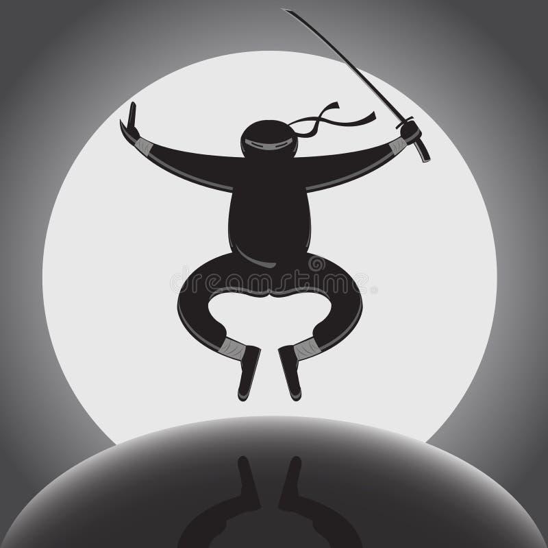 Vector ninja над предпосылкой полнолуния иллюстрация штока