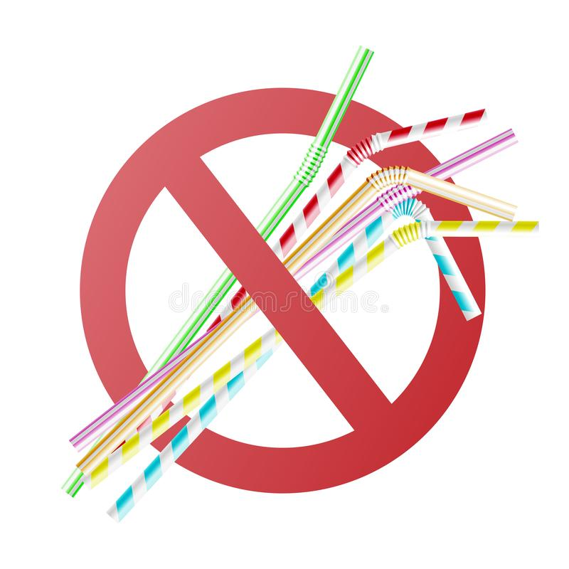 Vector no to plastic straw concept in cross circle. Vector no to plastic straws concept with colorful cocktail straws in red crossed circle. Environment royalty free illustration