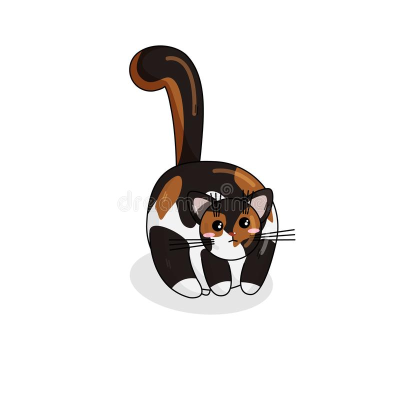 Vector Noors Forest Cat in Kawaii-Stijl stock illustratie
