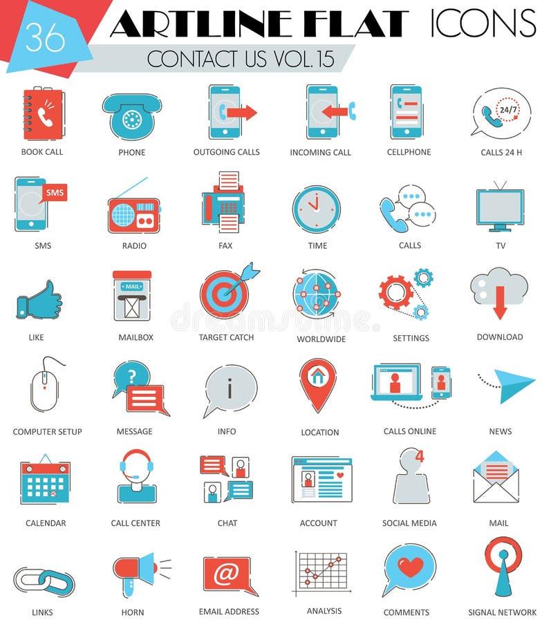 Vector nos entran en contacto con línea plana iconos del artline ultra moderno del esquema para el web y los apps stock de ilustración