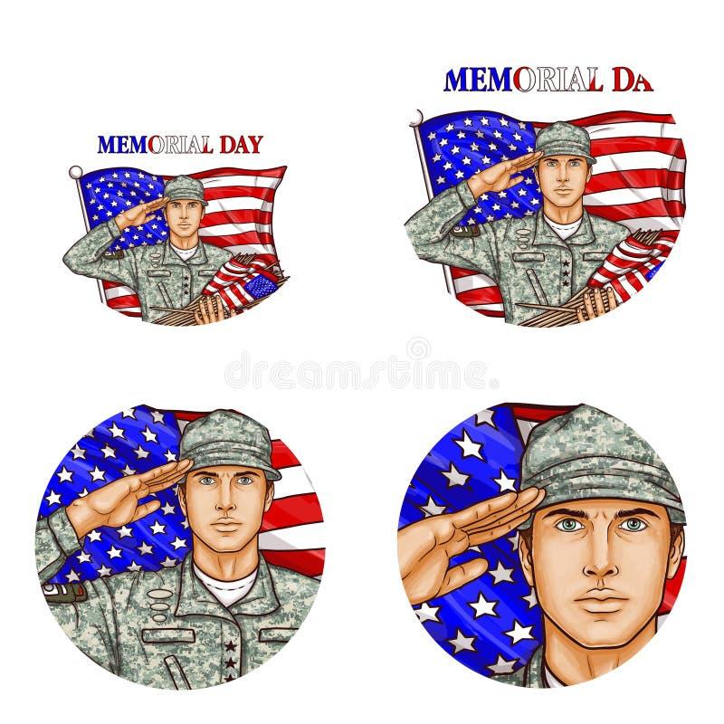 Vector nos icono del avatar del arte pop del soldado del saludo de bandera ilustración del vector