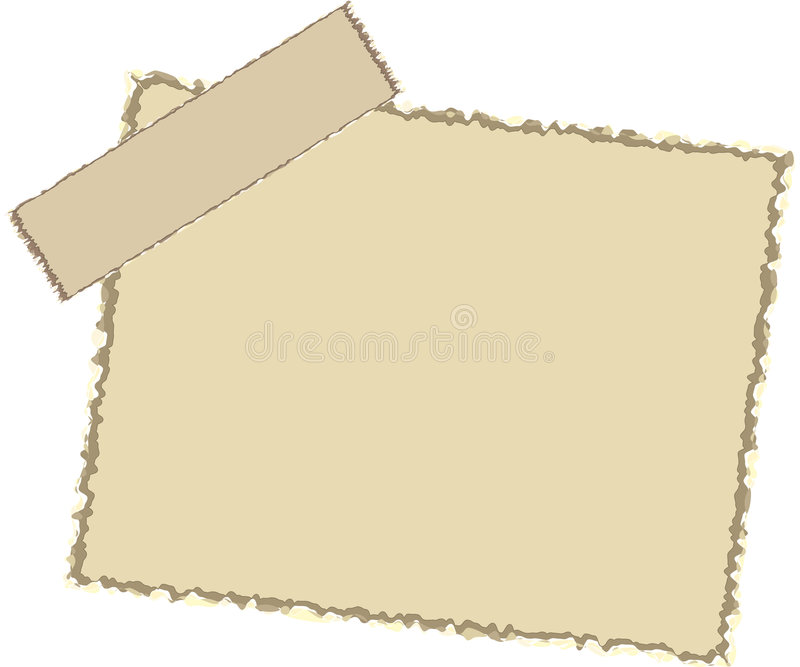 Vector note paper. Note paper with torn edges and sticky tapes stock illustration
