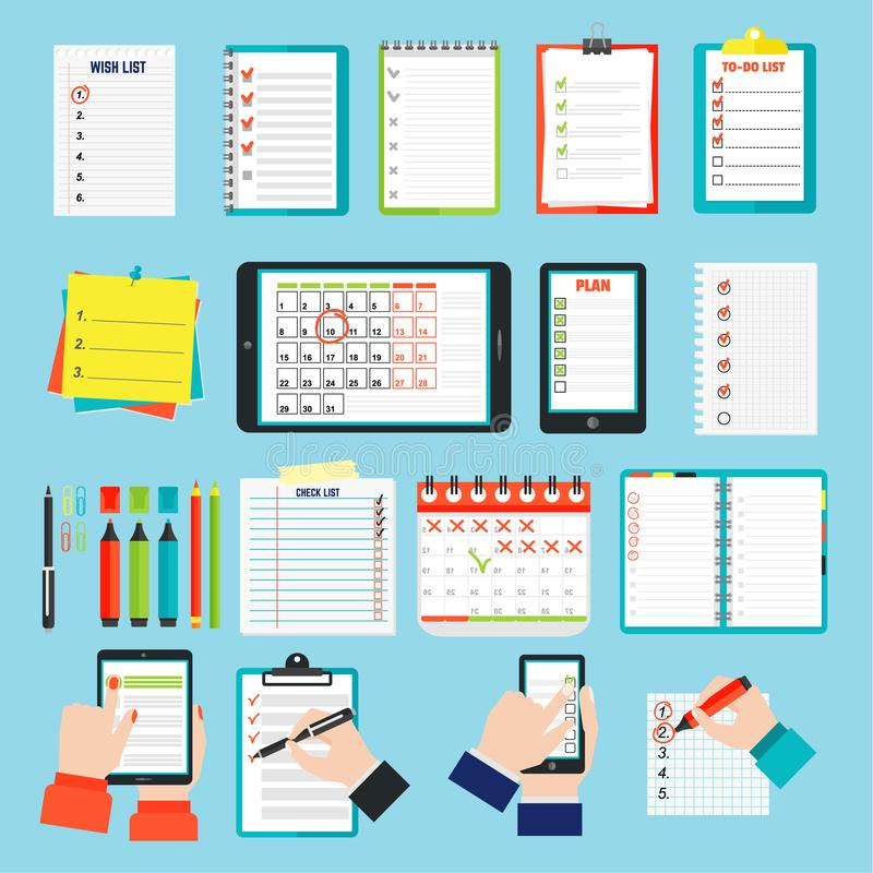 Agenda business notes vector royalty free illustration