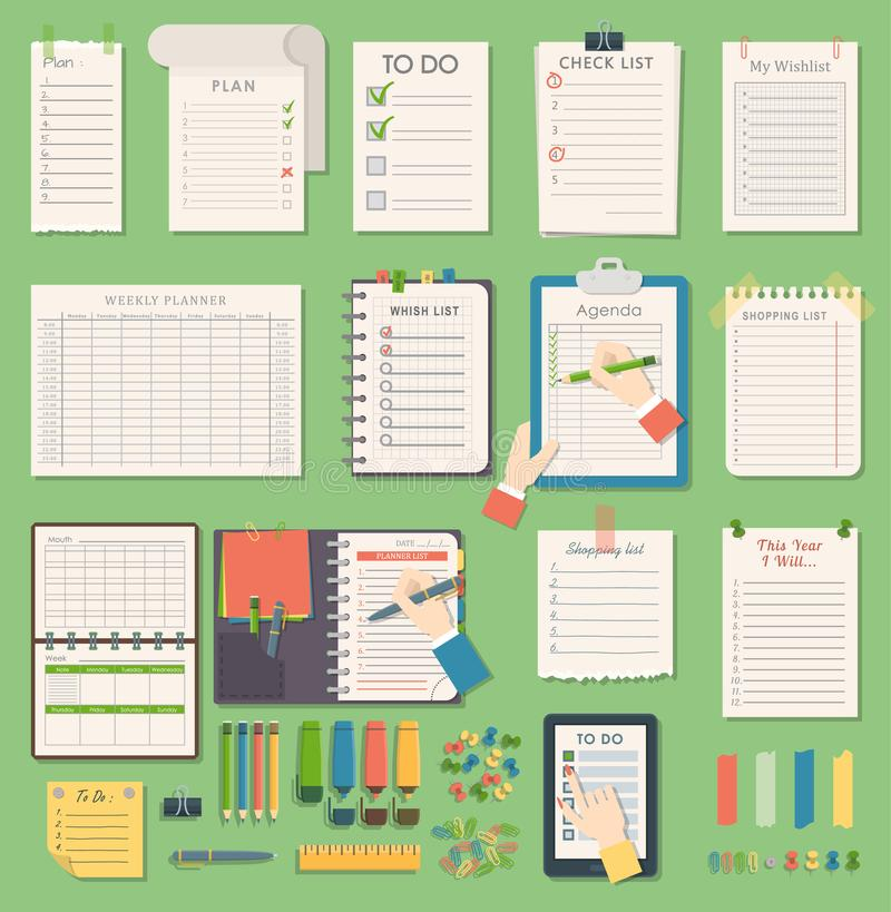 Vector notebook agenda business planner note. Meeting notebook plan work reminder agenda business note. Schedule stock illustration