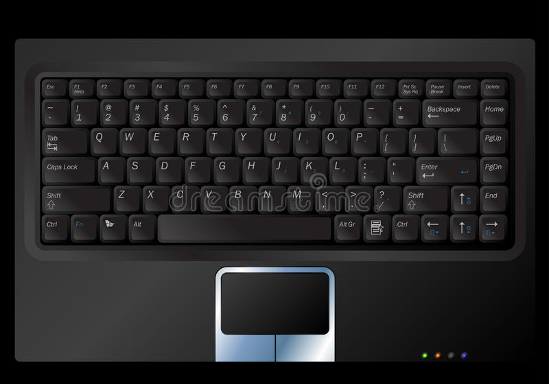 Vector notebook keyboard. Vector illustration of a black laptop or notebook keyboard vector illustration