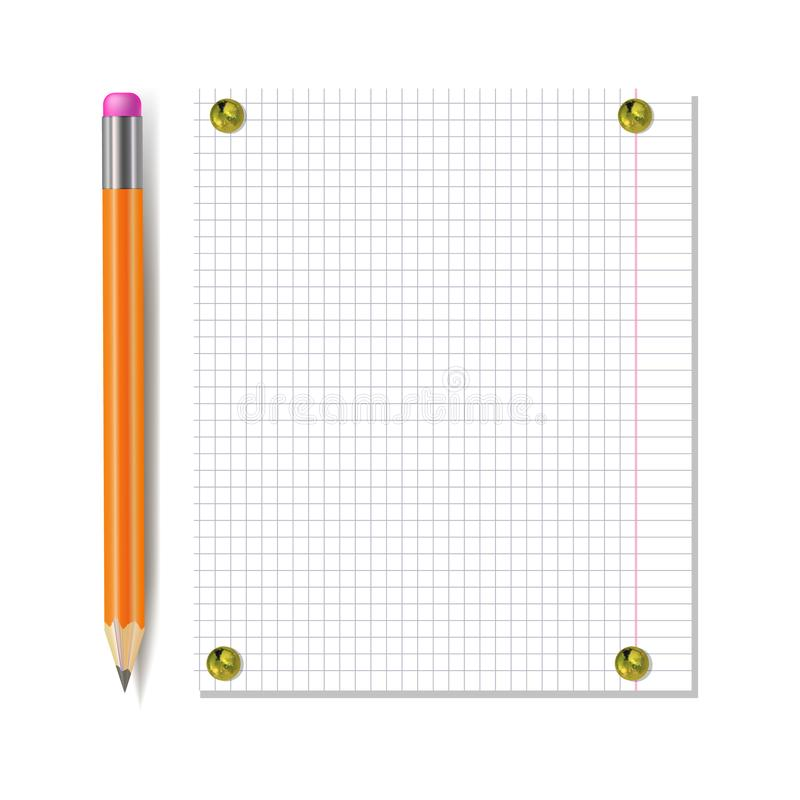 Vector Notebook Paper Sheet with Pencil Attached by Golden Realistic Pin Buttons, Isolated, Mock Up Template. vector illustration
