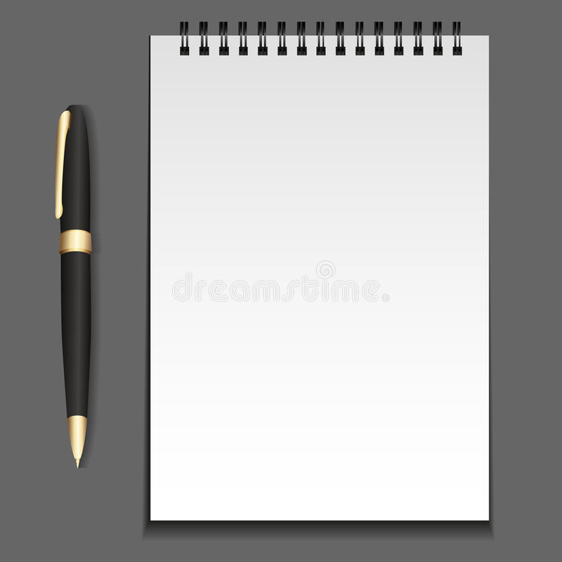 Vector Notepad Template On Springs With A Pen. Stock Vector ...