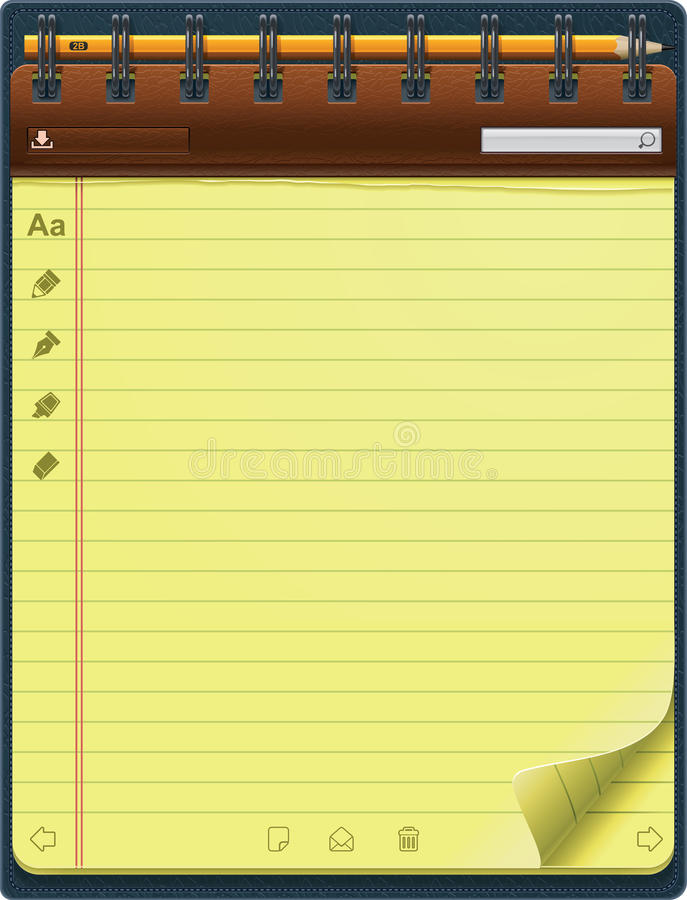 Vector notepad template (vertical) stock illustration
