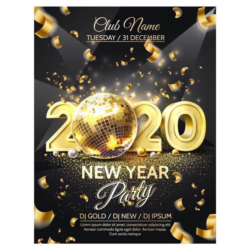 Vector 2020 nouvelle année de la fête de disco en or illustration libre de droits