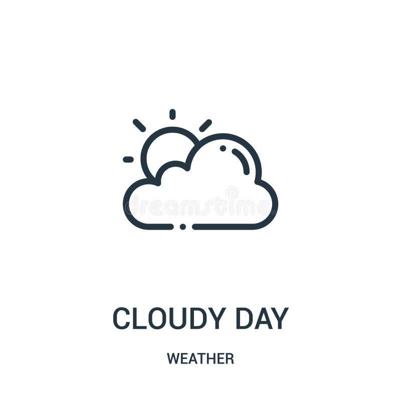 vector nublado del icono del día de la colección del tiempo Línea fina ejemplo nublado del vector del icono del esquema del día libre illustration