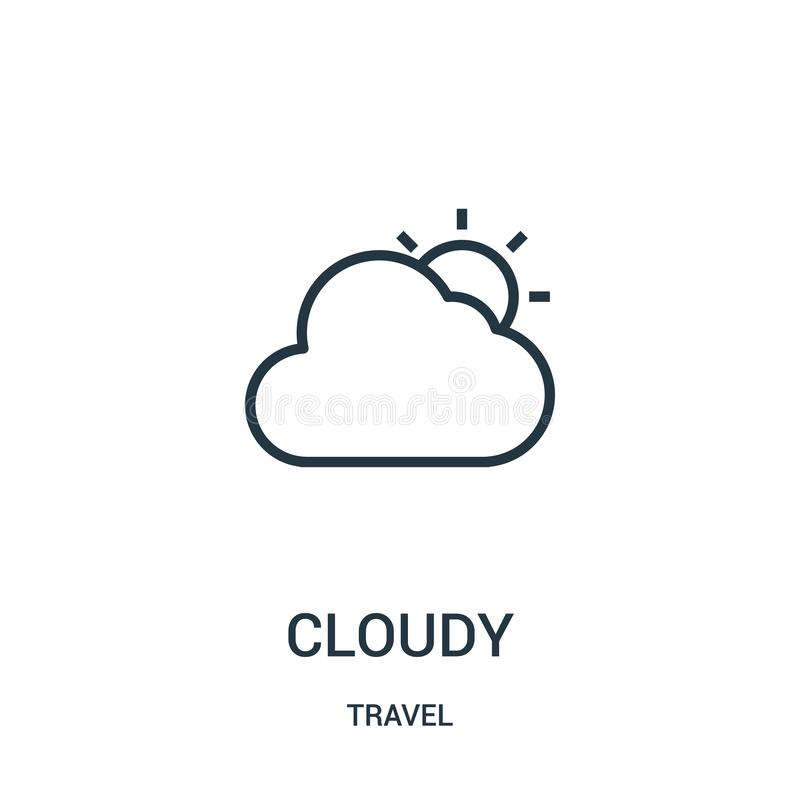 vector nublado del icono de la colección del viaje Línea fina ejemplo nublado del vector del icono del esquema Símbolo linear par libre illustration