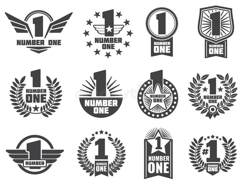Vector number one retro corporate identity logos and labels vector illustration