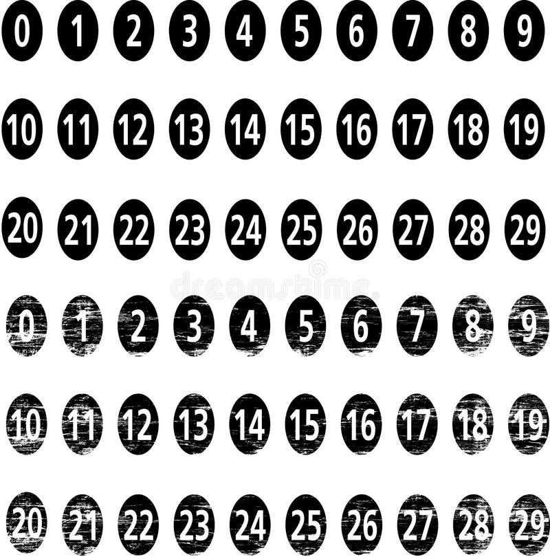 Vector numbers. Vector set of numbers in black 1-29 grunge stile