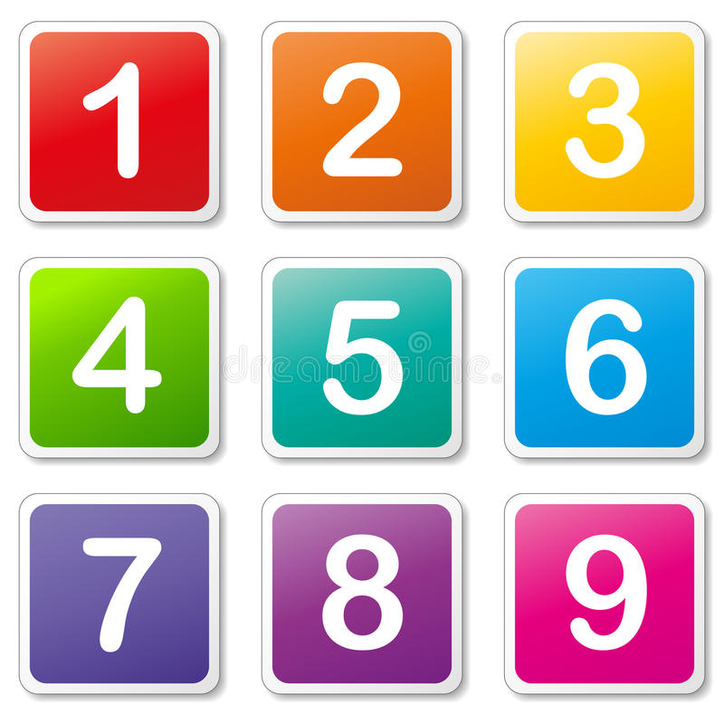 Vector Colored Numbers Icons Stock Vector Illustration