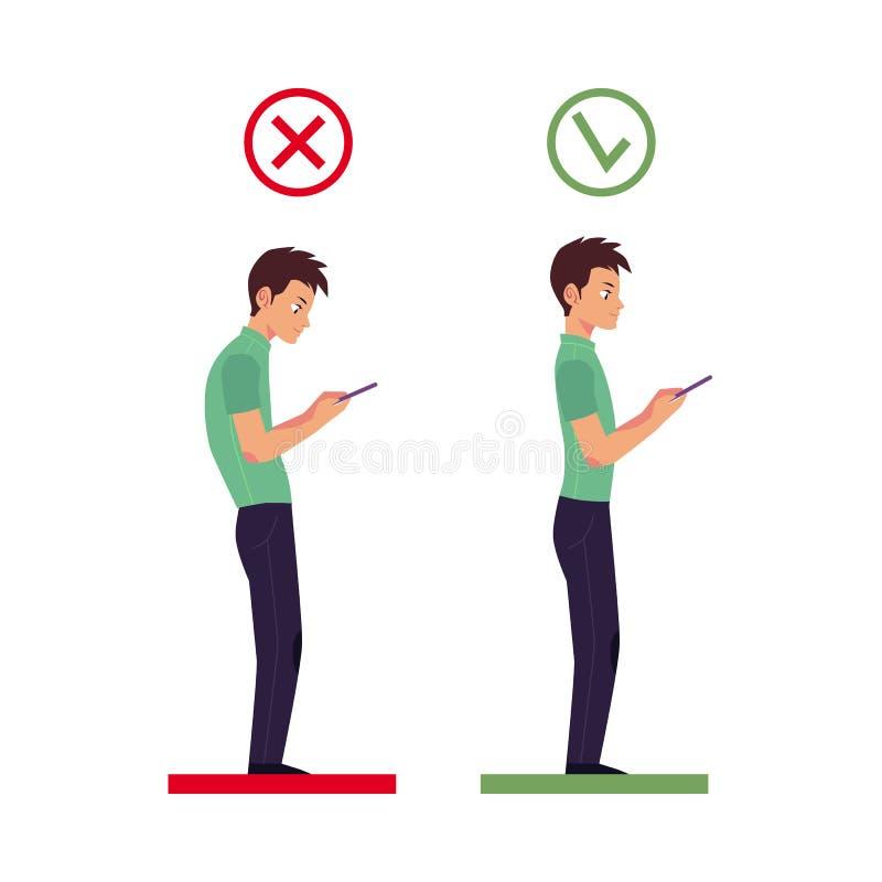 Vector o ângulo principal correto, incorreto usando o telefone ilustração do vetor
