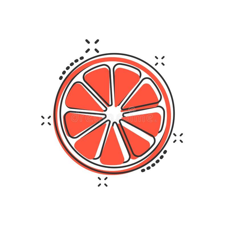 Vector o ícone alaranjado do fruto dos desenhos animados no estilo cômico Citrino alaranjado c ilustração do vetor