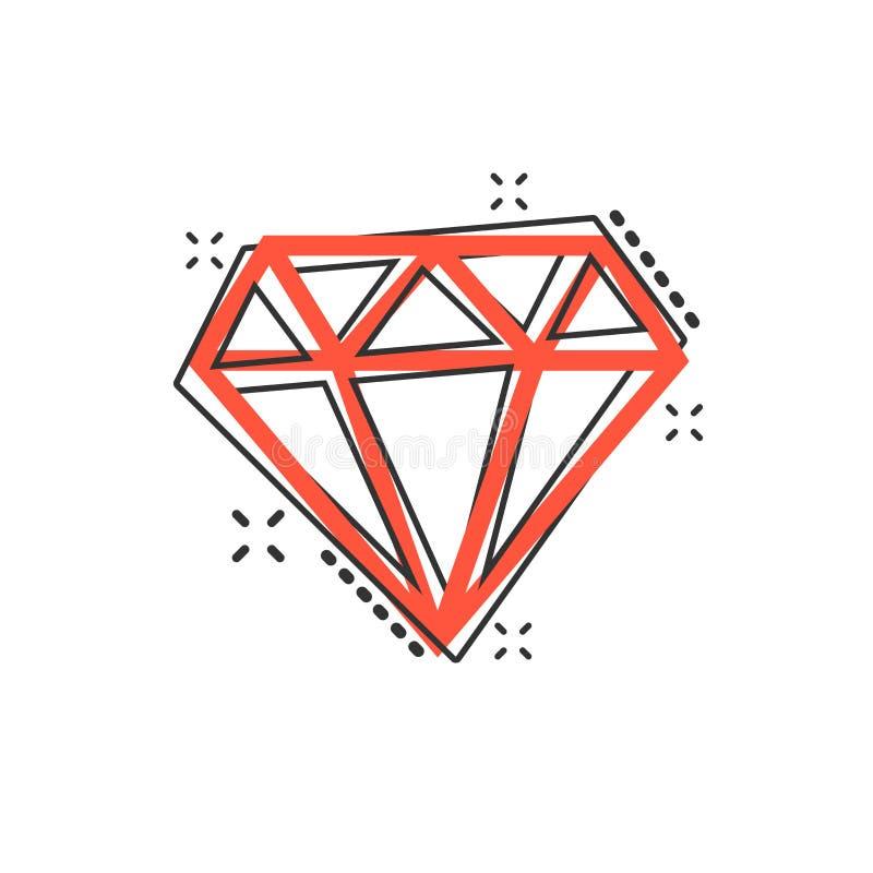 Vector o ícone da gema da joia do diamante dos desenhos animados no estilo cômico Ge do diamante ilustração royalty free