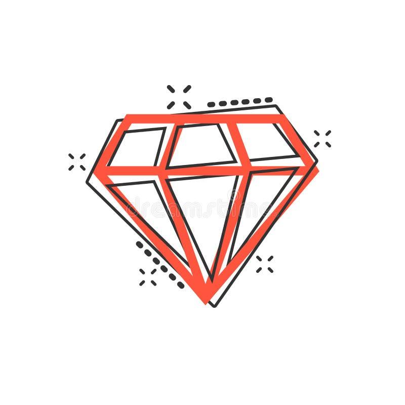 Vector o ícone da gema da joia do diamante dos desenhos animados no estilo cômico Ge do diamante ilustração do vetor