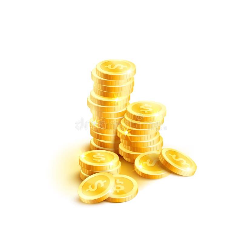 Vector o ícone da pilha das moedas de centavos dourados da moeda do dólar ilustração stock
