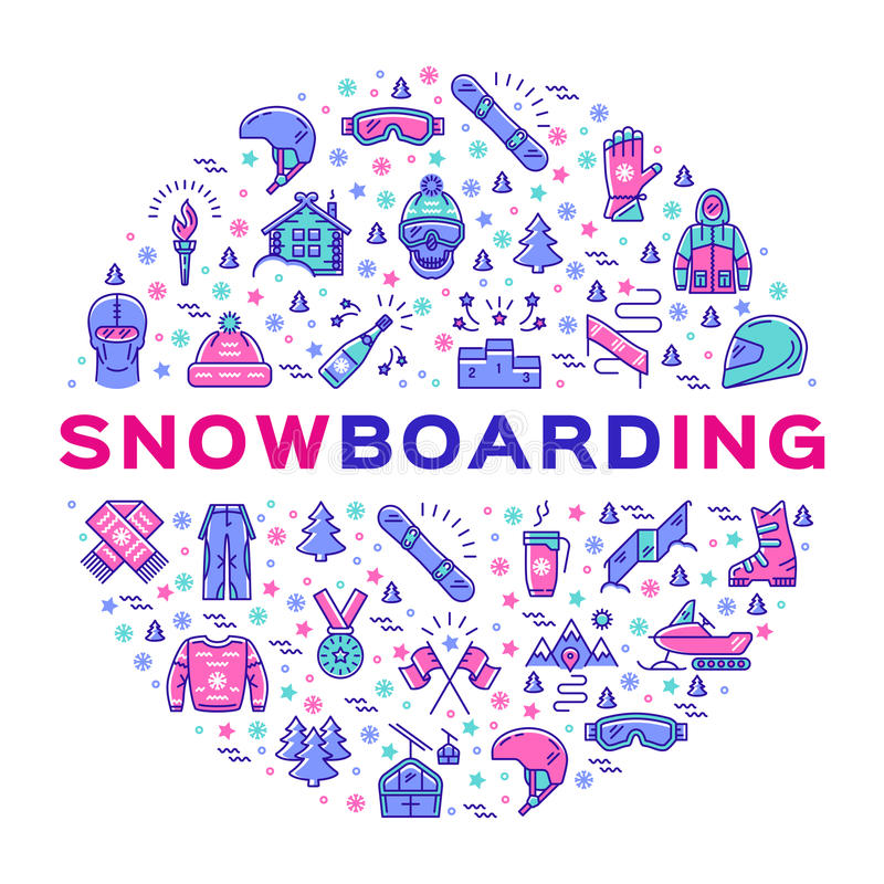 Vector o ícone da snowboarding, o infographics do Snowboard, a roupa dos esportes de inverno e o equipamento ilustração do vetor