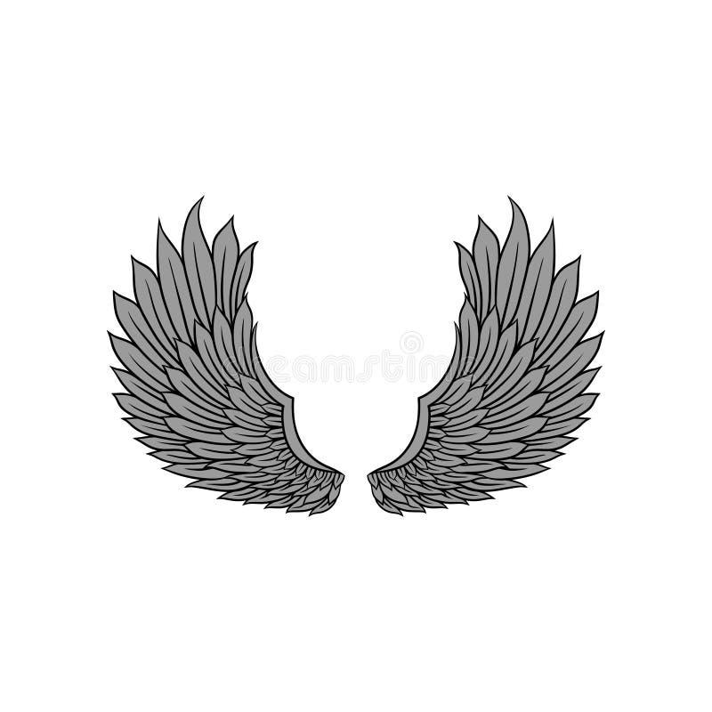 Vector o ícone das asas abertas do pássaro ou do anjo com penas cinzentas Projeto da tatuagem da velha escola Elemento para a eti ilustração do vetor