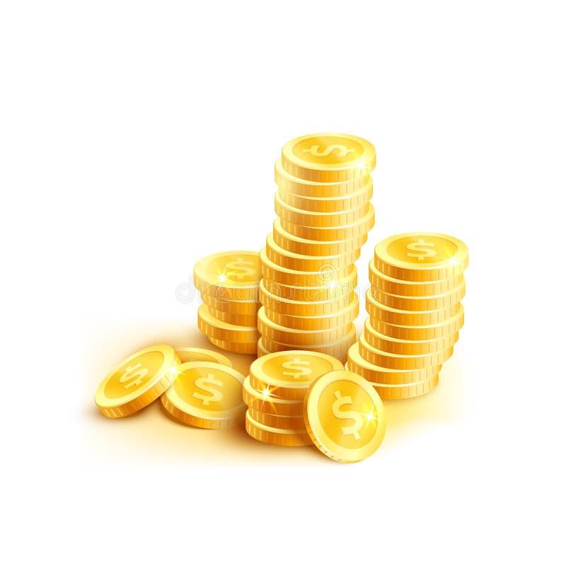 Vector o ícone das moedas da pilha dourada do centavo da moeda do dólar ilustração stock