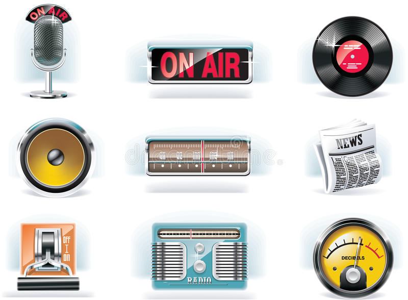 Vector o ícone de rádio ajustado (o fundo branco)