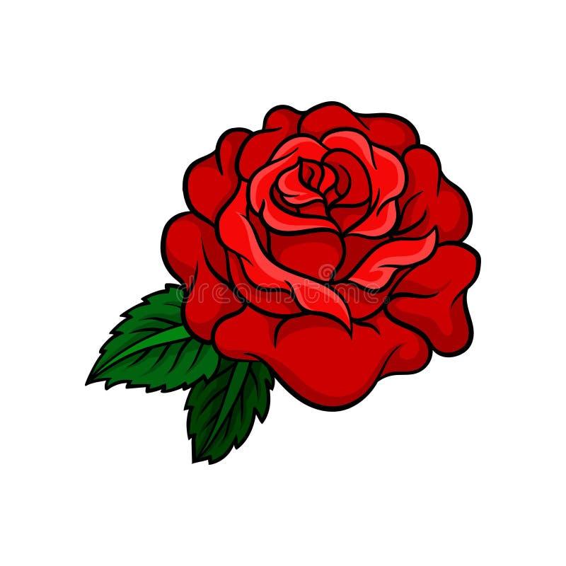 Vector o ícone do botão cor-de-rosa brilhante com as duas folhas verdes Projeto da tatuagem da velha escola Elemento para a etiqu ilustração do vetor
