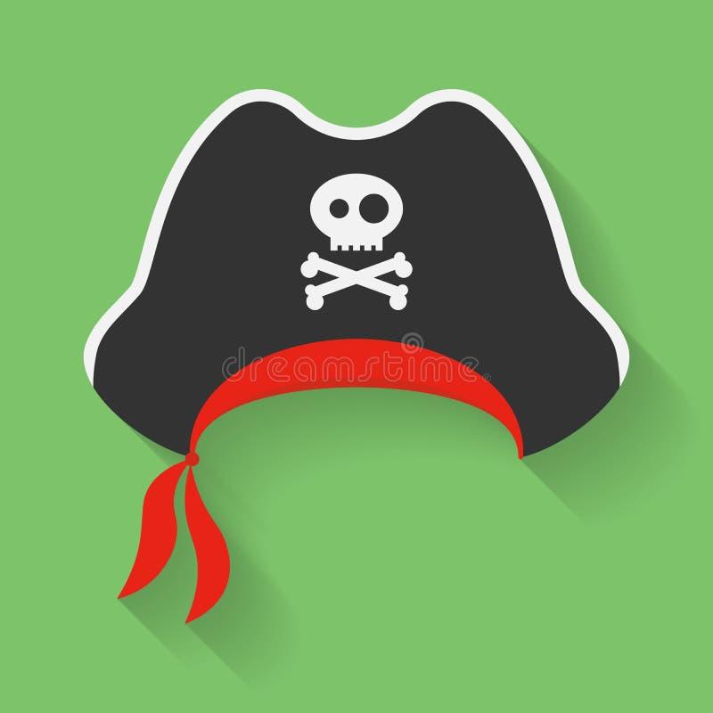 Vector o ícone do chapéu do pirata com um símbolo de Jolly Roger Filibuster, mantilha do corsário com sinal, emblema dos ossos cr ilustração do vetor