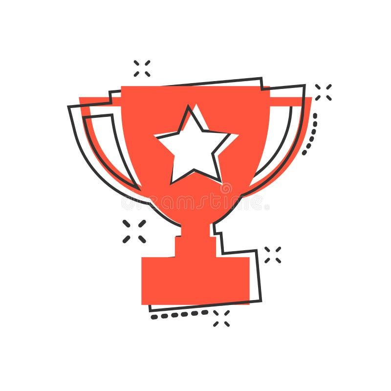 Vector o ícone do copo do troféu dos desenhos animados no estilo cômico Illus do sinal do vencedor ilustração stock