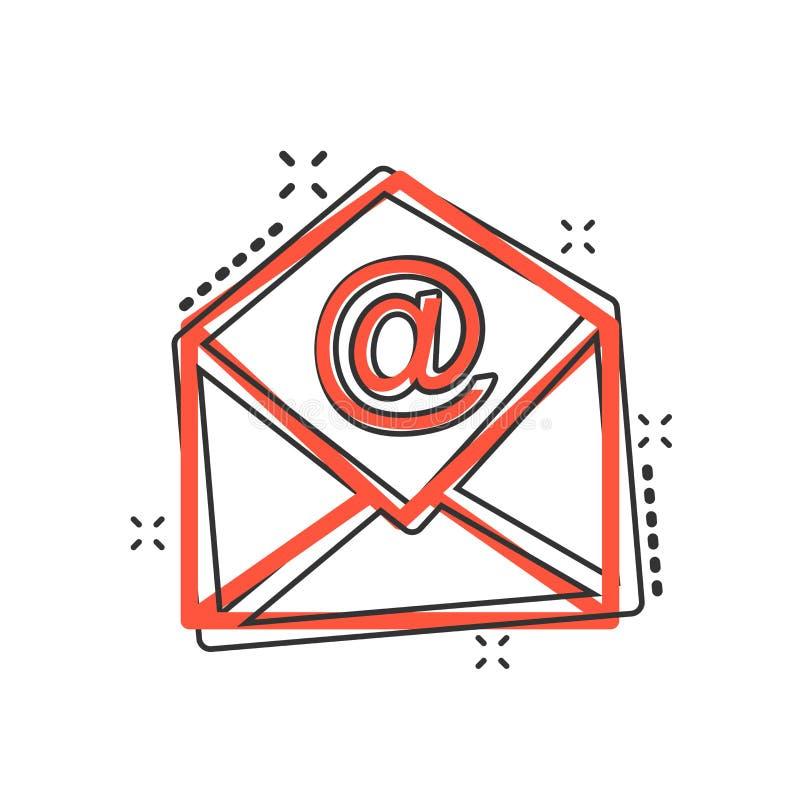 Vector o ícone do envelope do correio dos desenhos animados no estilo cômico Mal do sinal do email ilustração stock