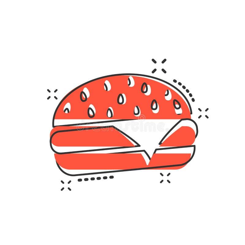 Vector o ícone do fast food do hamburguer dos desenhos animados no estilo cômico Hamburger s ilustração royalty free
